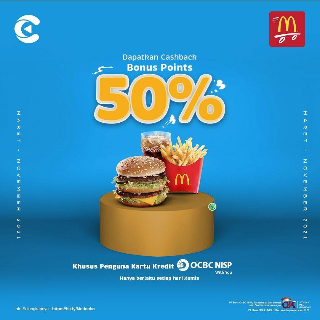 Diskon McDonalds Cashback Bonus Point 50% Di Cashbac App
