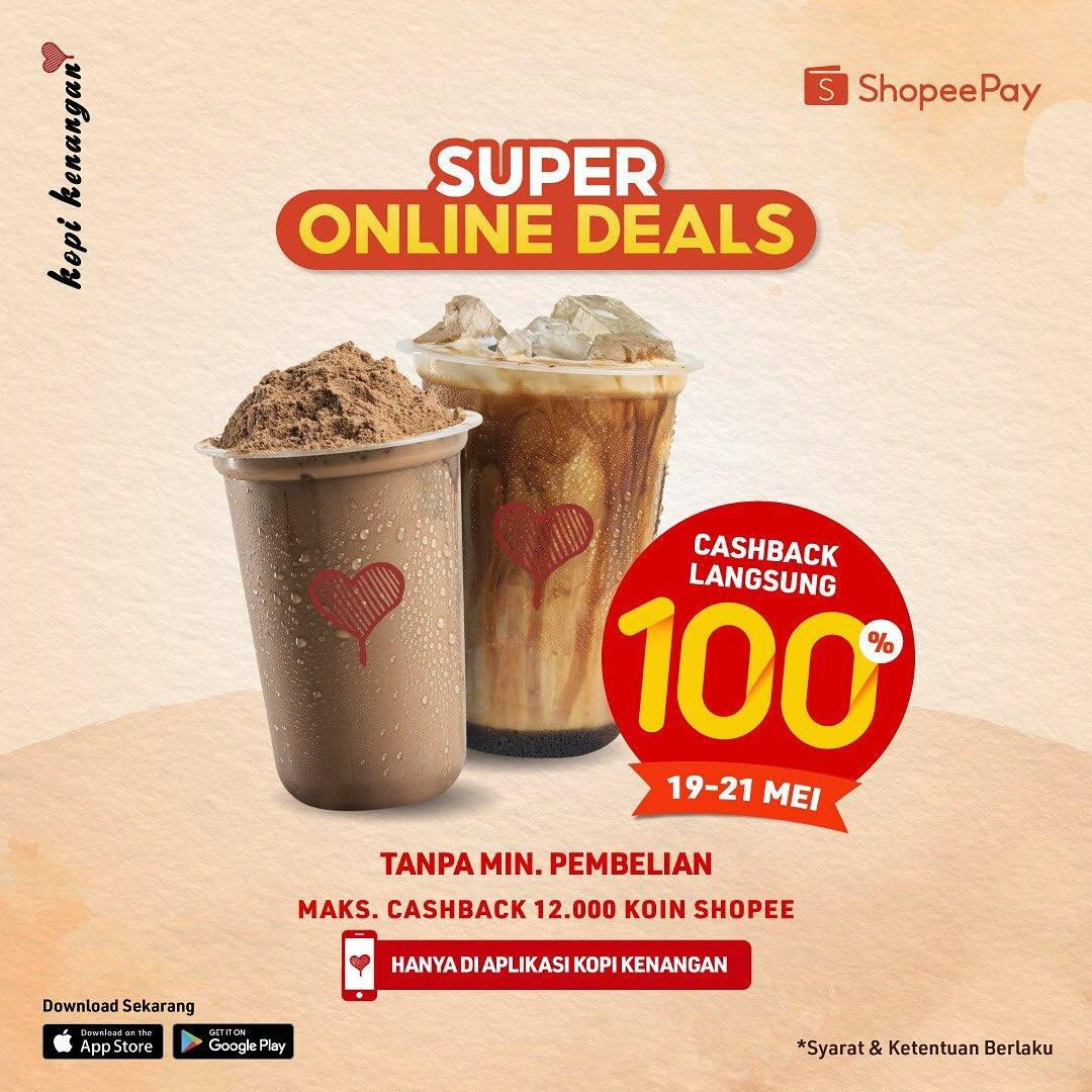 Diskon Kopi Kenangan Super Online Deals Cashback 100% Shopeepay