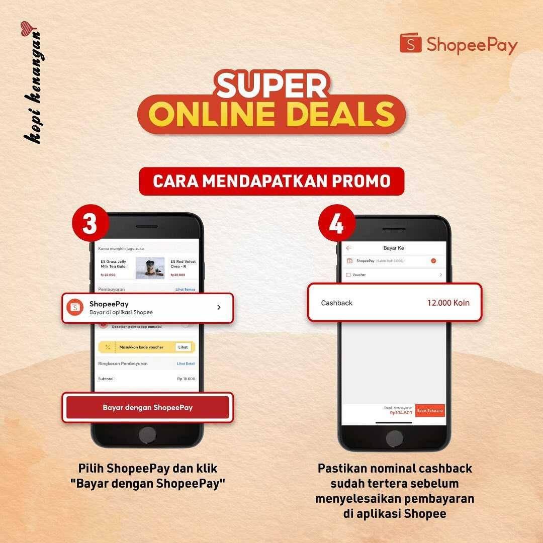 Promo diskon Kopi Kenangan Super Online Deals Cashback 100% Shopeepay