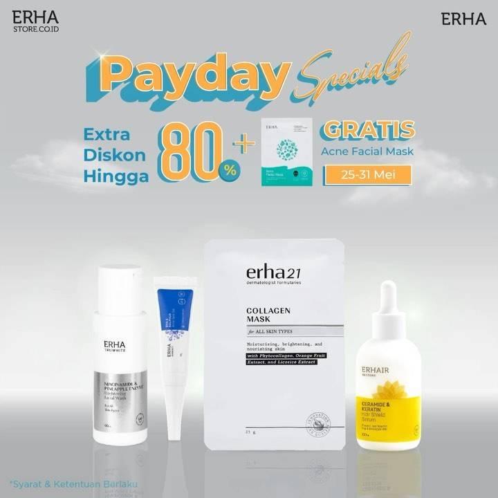 Diskon Erha Payday Specials Extra Diskon Hingga 80% + Gratis Acne Facial Mask