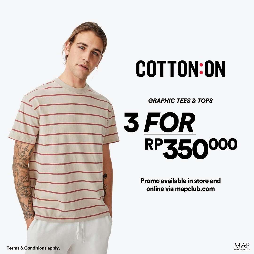 Diskon Cotton On Promo 3 Graphic Tees & Top Only For Rp. 350.000