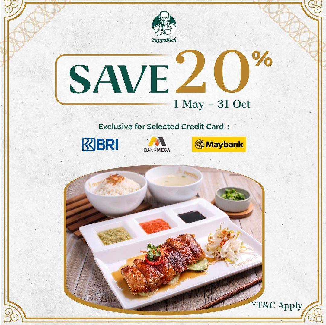 Diskon Papparich Save 20% With Selected Credit Cards
