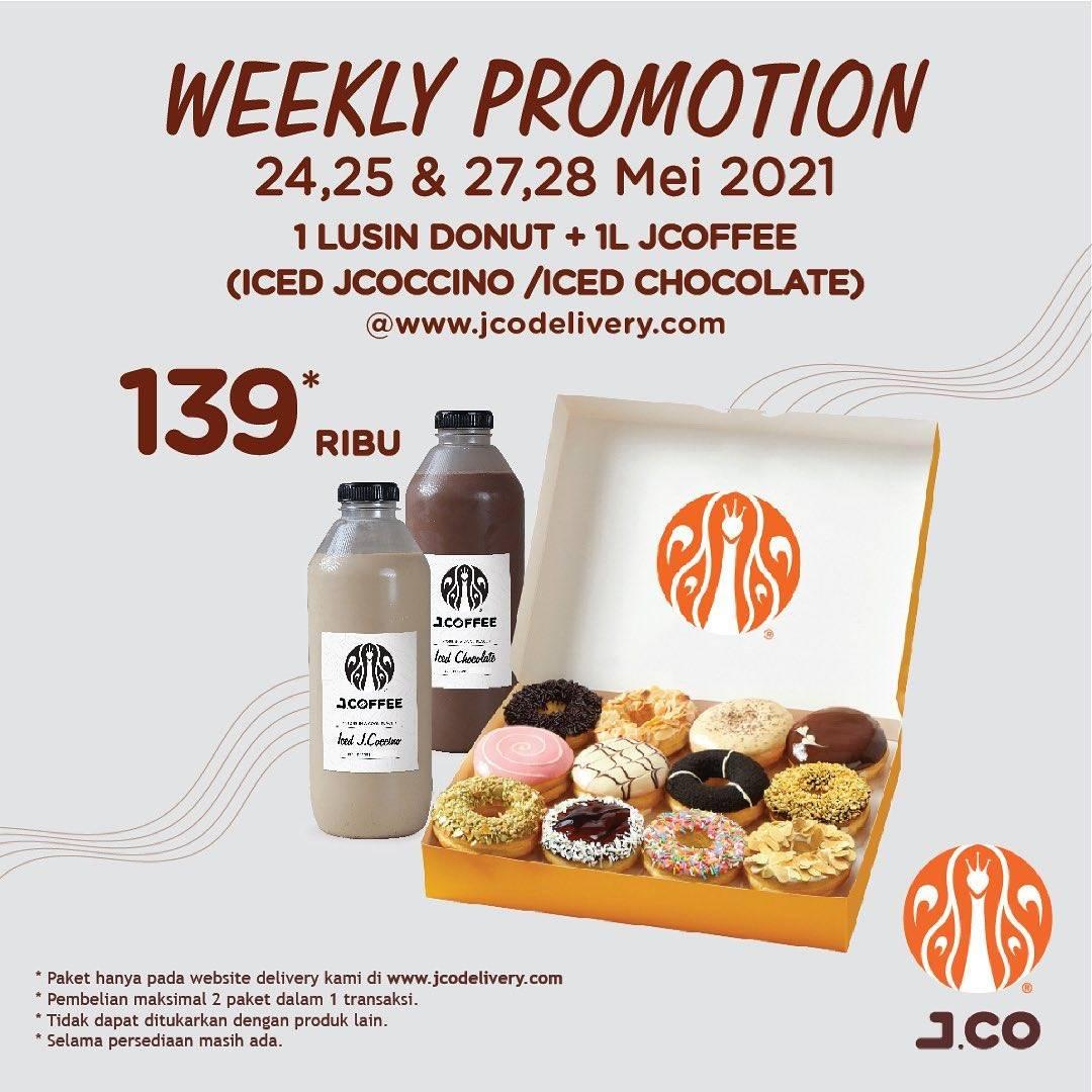 Diskon JCO Weekly Promotion 1 Dzn Donuts + 1L JCoffee Hanya Rp. 139.000