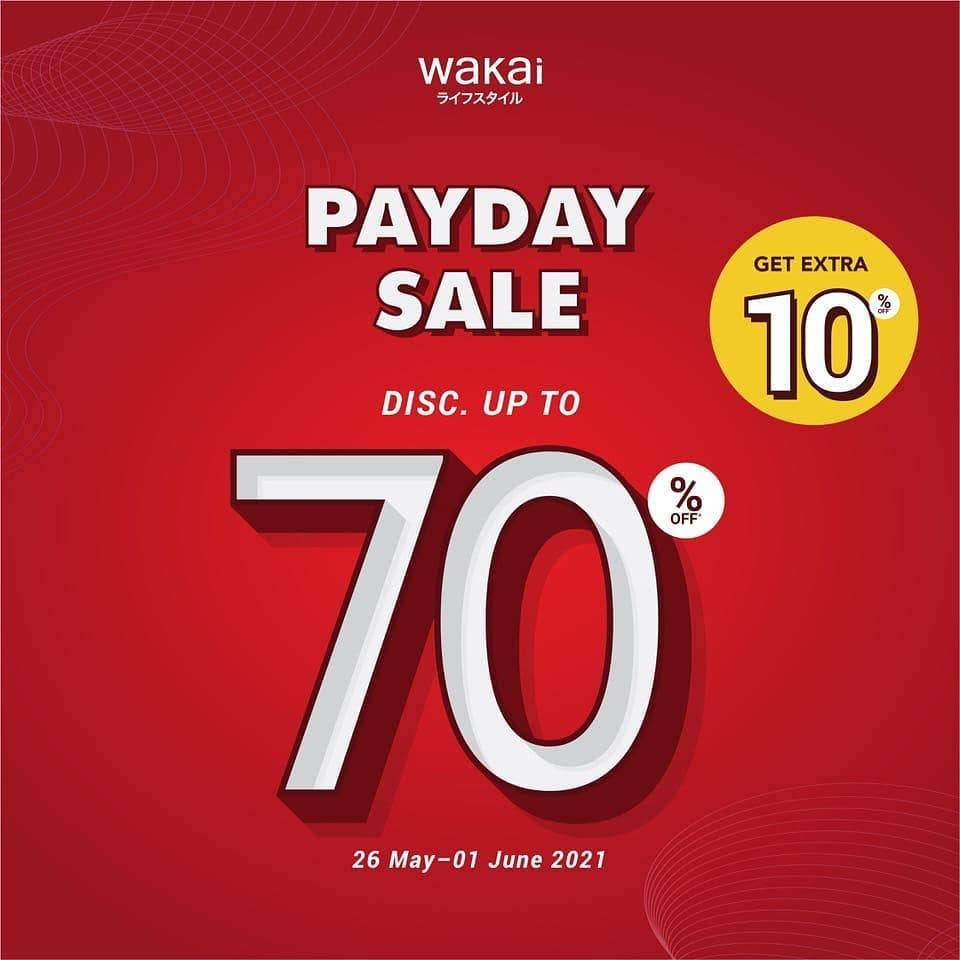 Diskon Wakai Payday Sale Discount Up To 70% Off + Get Extra 10% Off