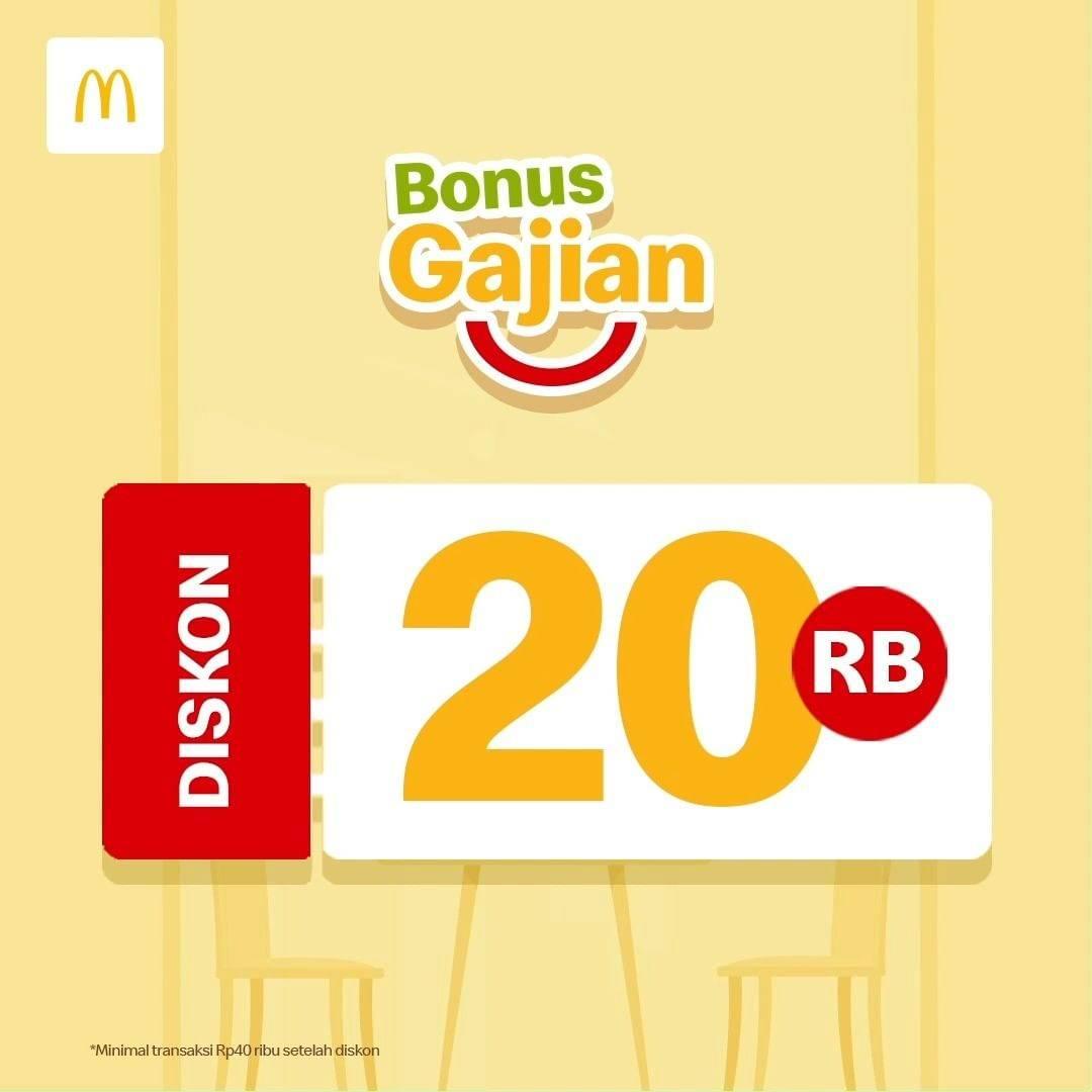 Diskon McDonalds Bonus Gajian Diskon Rp. 20.000