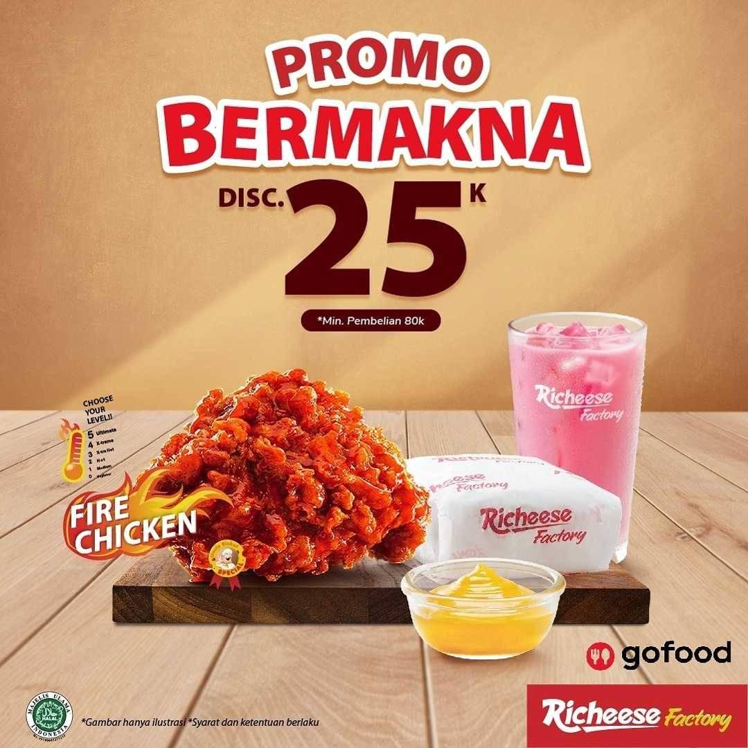 Diskon Richeese Factory Promo Bermakna Discount Rp. 25.000 Dengan GoFood