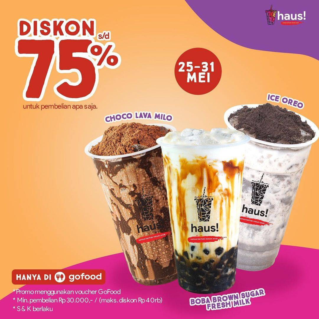Diskon Haus! Indonesia Diskon 75% + Gratis Ongkir Dengan GoFood