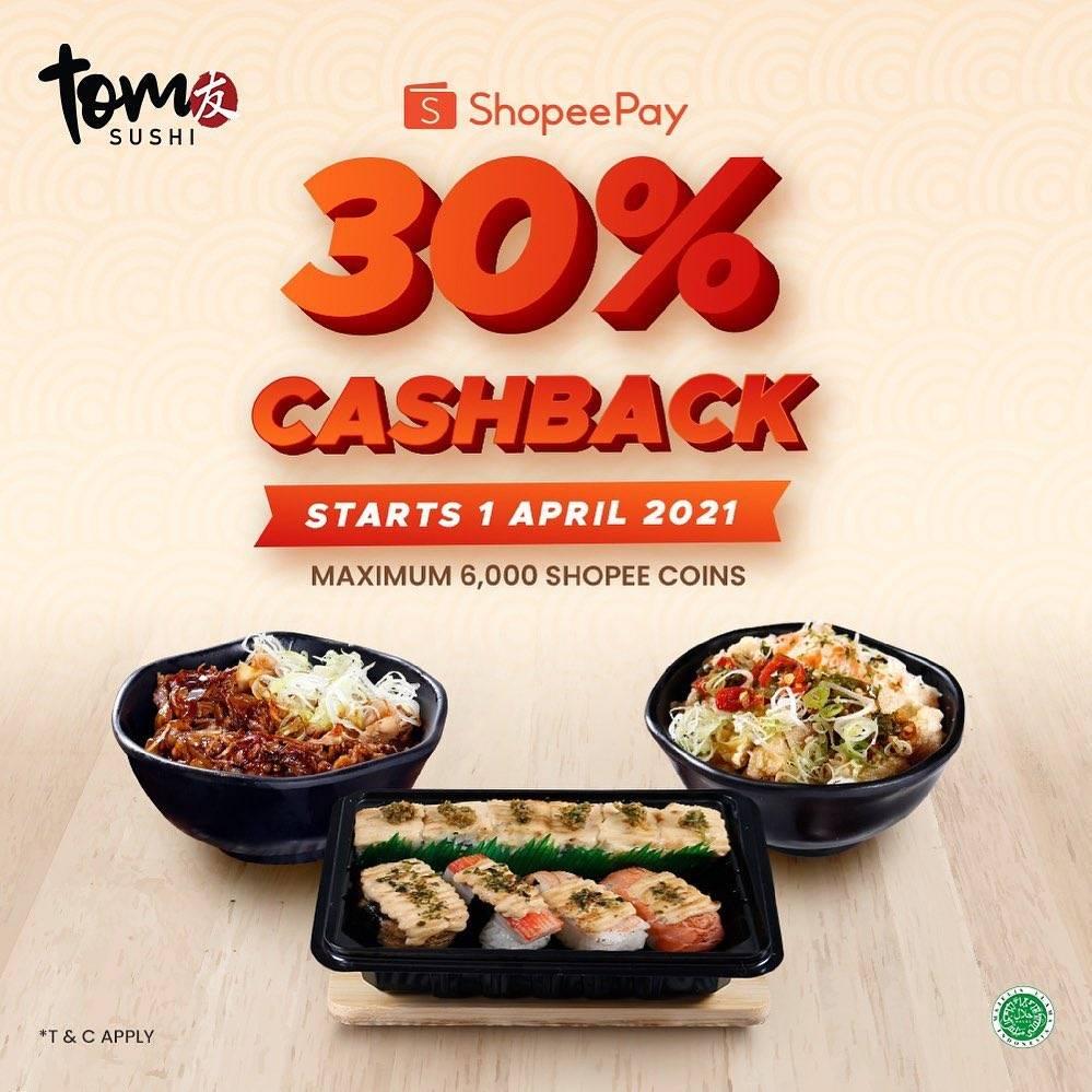Diskon Tom Sushi Cashback 30% Dengan Shopeepay