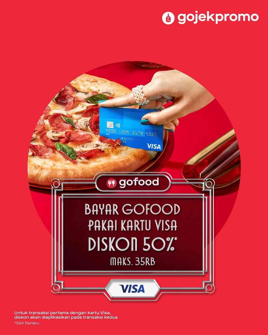 Diskon GoFood Diskon 50% Setip Bayar Pakai Kartu Visa