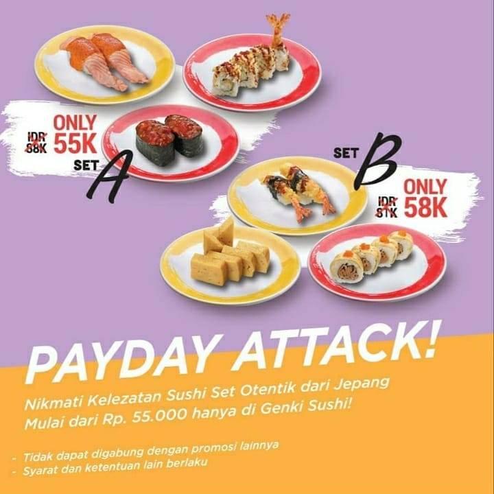 Diskon Genki Sushi Payday Attack Menu Set Start From Rp. 55.000