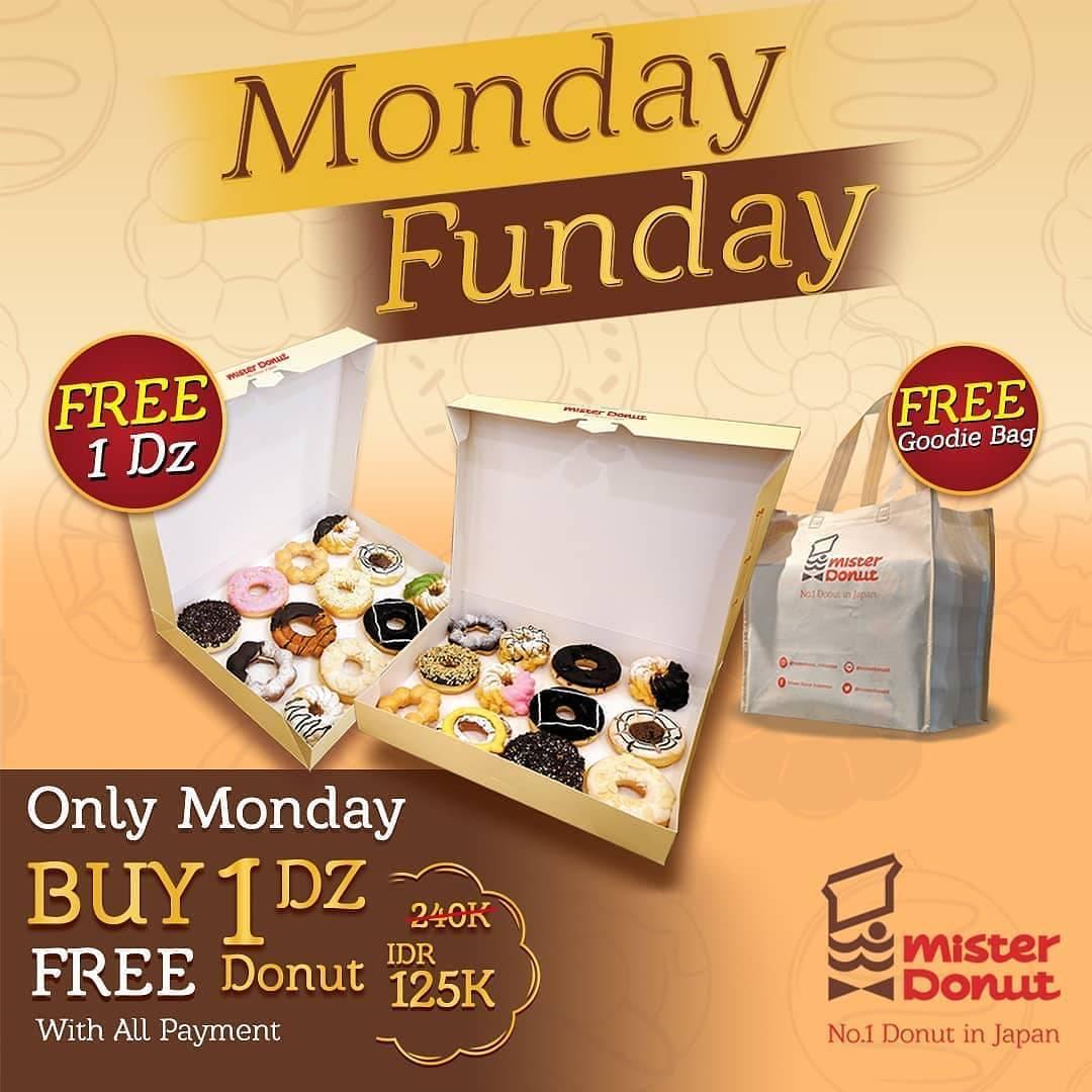 Diskon Mister Donut Monday Funday Buy 1 Dzn Get 1 Dzn Free Donuts