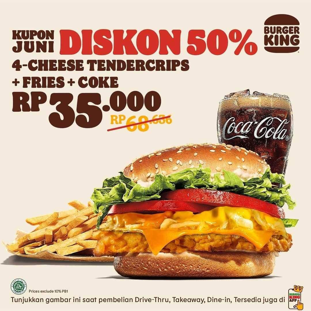 Promo diskon Burger King Kupon Diskon 50% Bulan Juni