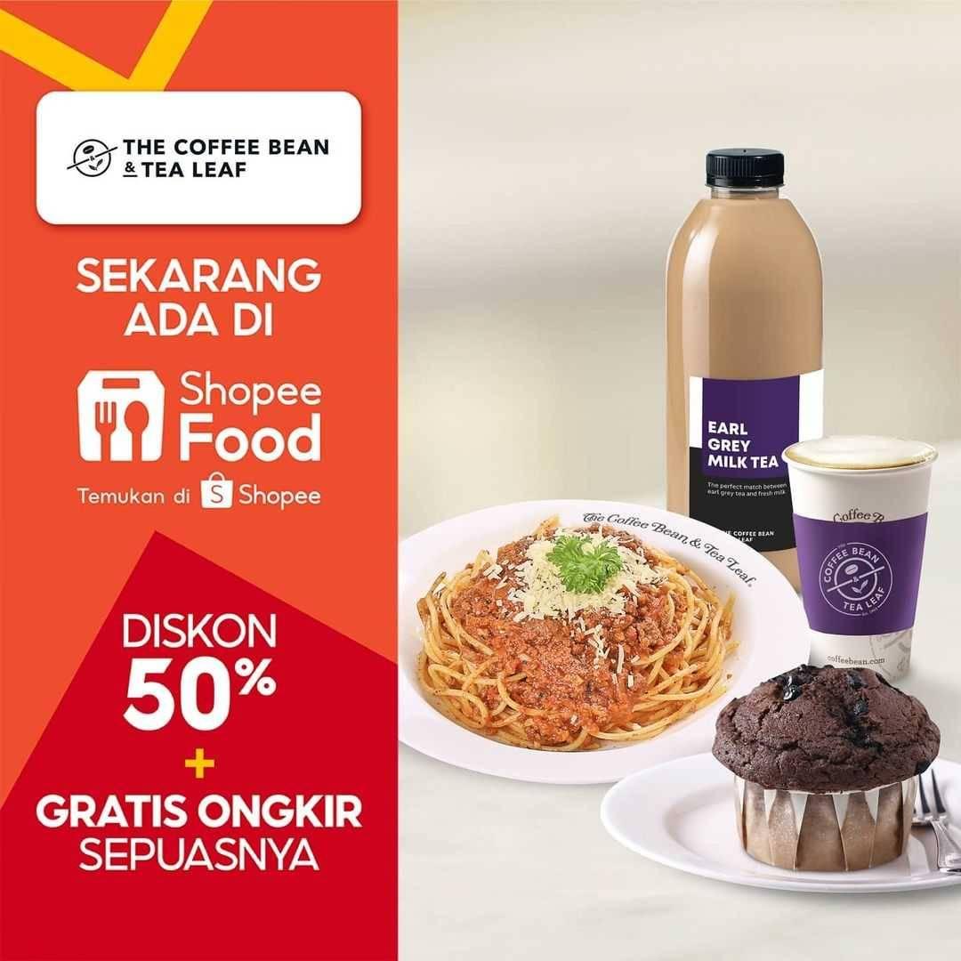 Diskon The Coffee Bean Diskon 50% + Gratis Ongkir Dengan ShopeeFood