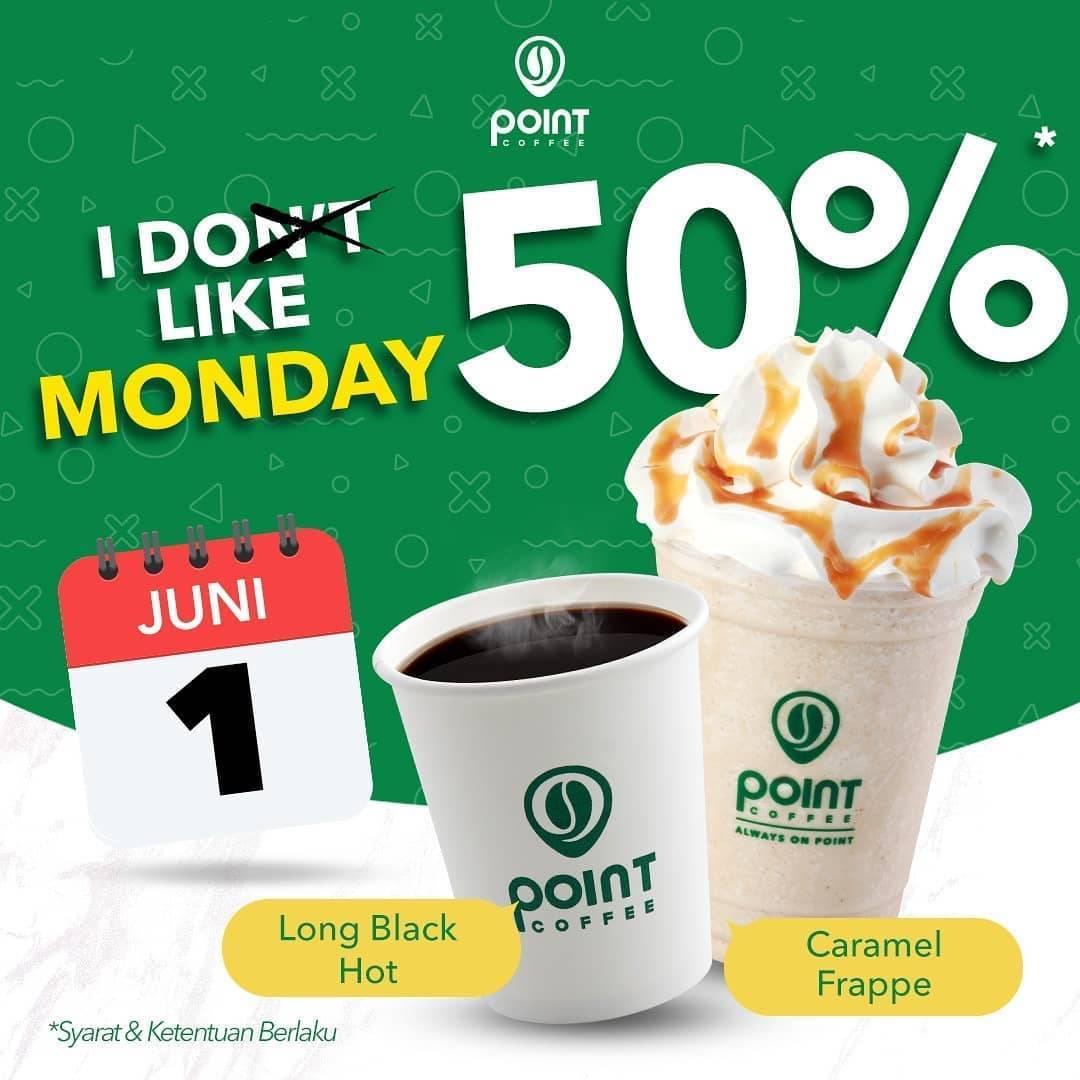 Diskon Promo Point Coffee Diskon 50% Untuk Long Black Hot & Caramel Frappe