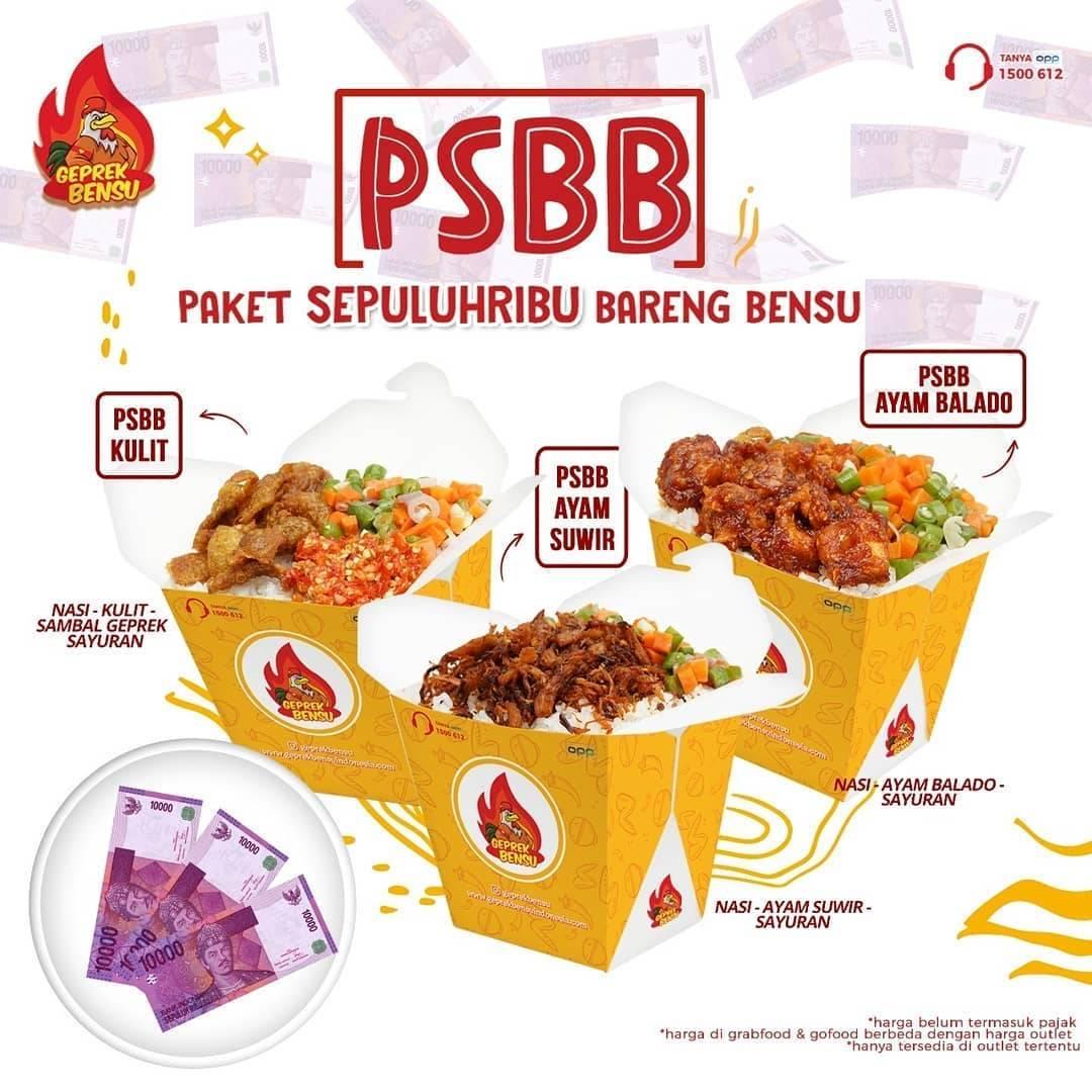 Diskon Promo Geprek Bensu Paket PSBB Hanya Rp. 10.000