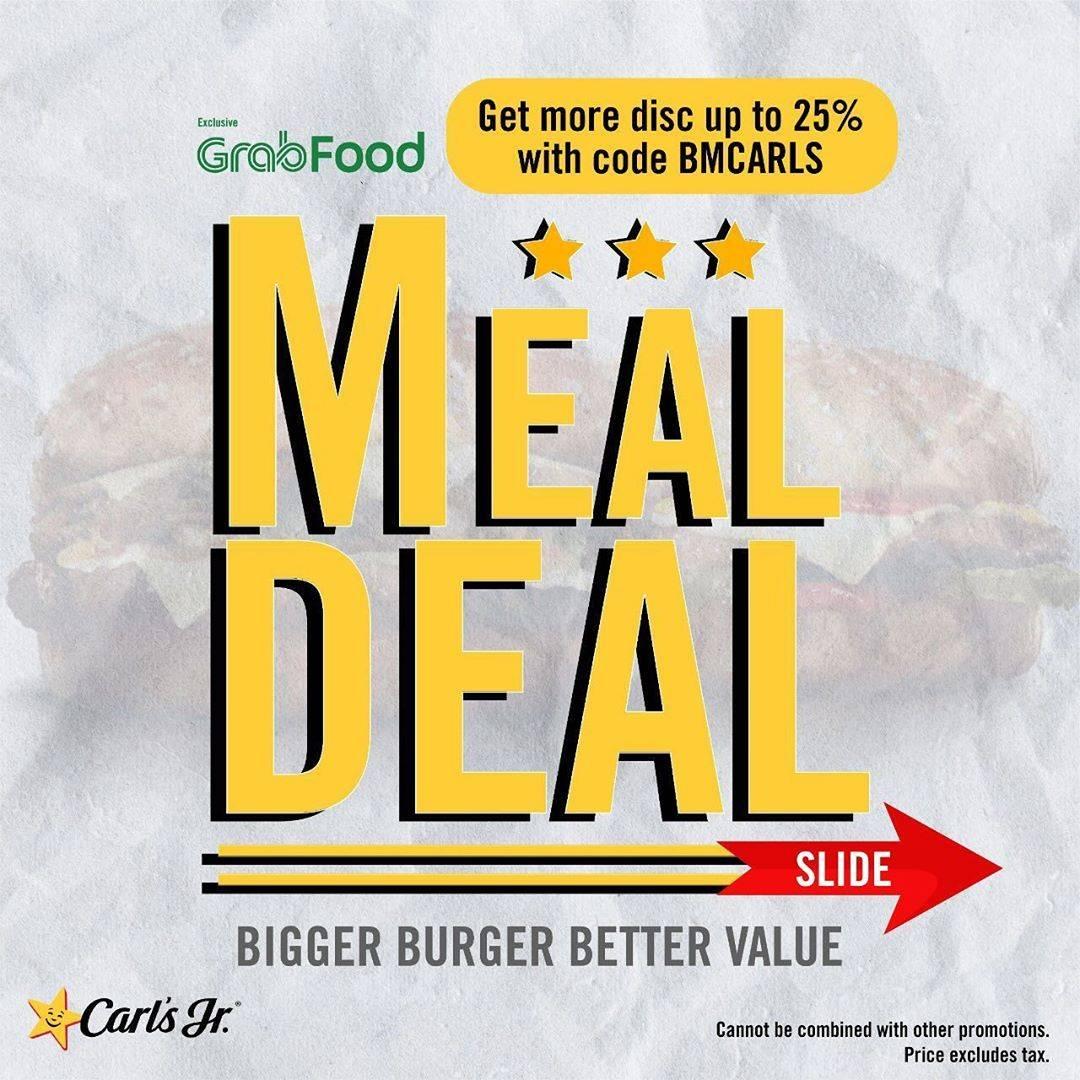 Diskon Promo Carls Jr Harga Spesial Paket Meal Deal + Diskon 25% Dari GrabFood