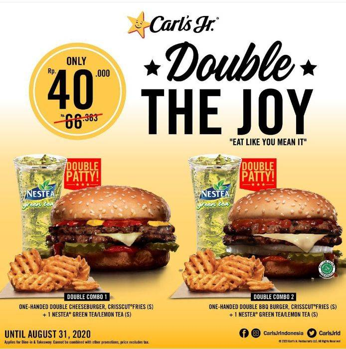 Diskon Promo Carls Jr Double The Joy Package Only For IDR 40.000