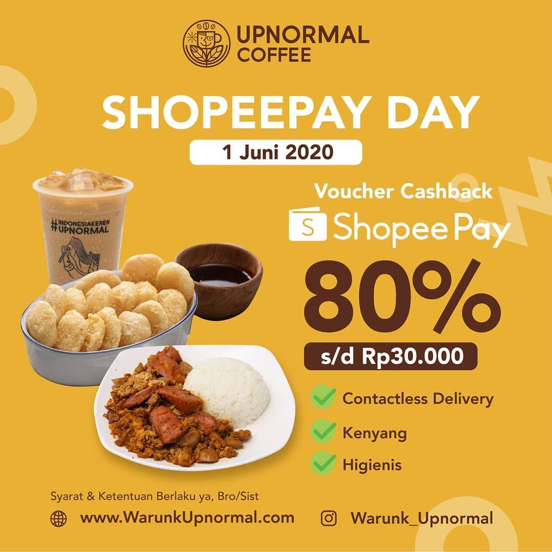 Diskon Promo Warunk Upnormal Voucher Cashback 80% Untuk Transaksi Menggunakan ShopeePay