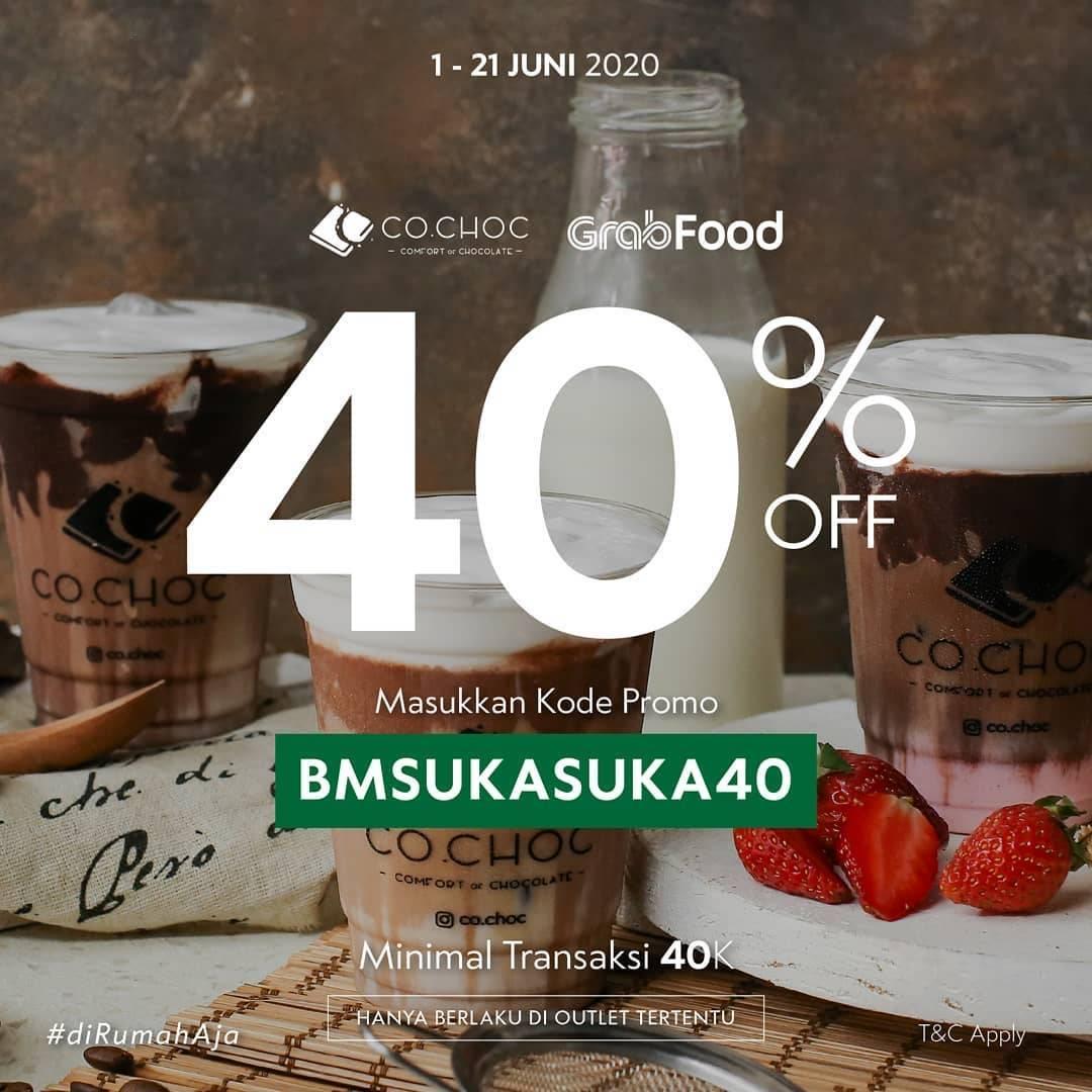 Diskon Promo Co Choc Diskon 40% Untuk Pembelian Minuman Melalui GrabFood