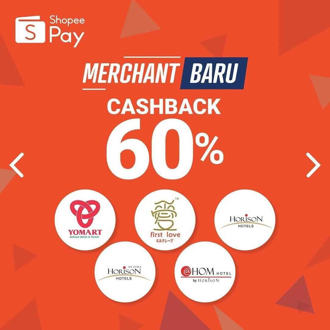 Promo diskon Promo ShopeePay Cashback Hingga 60% Di Beberapa Merchant Terbaru ShopeePay