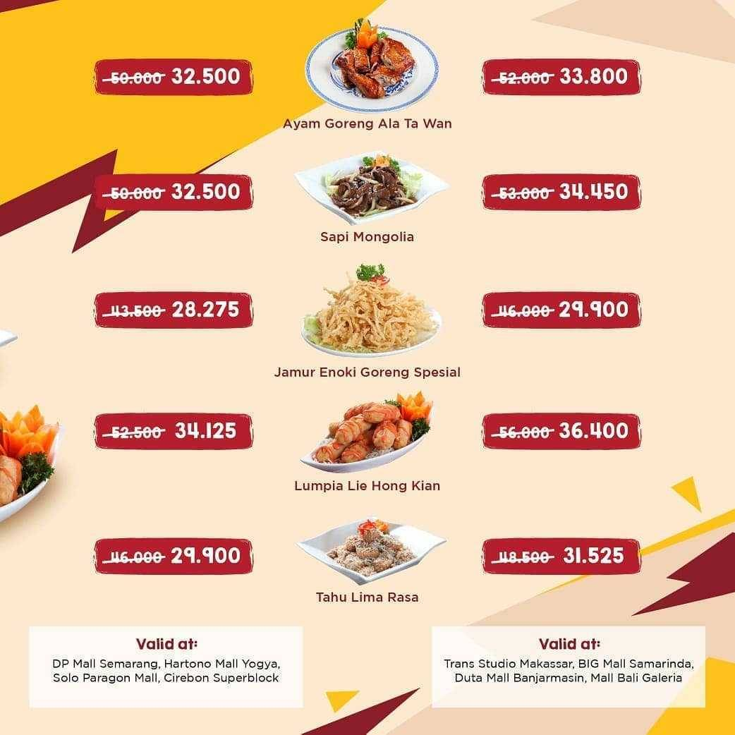 Promo diskon Promo Ta Wan Restaurant Diskon 35% Untuk Pemesanan Menu Favorit