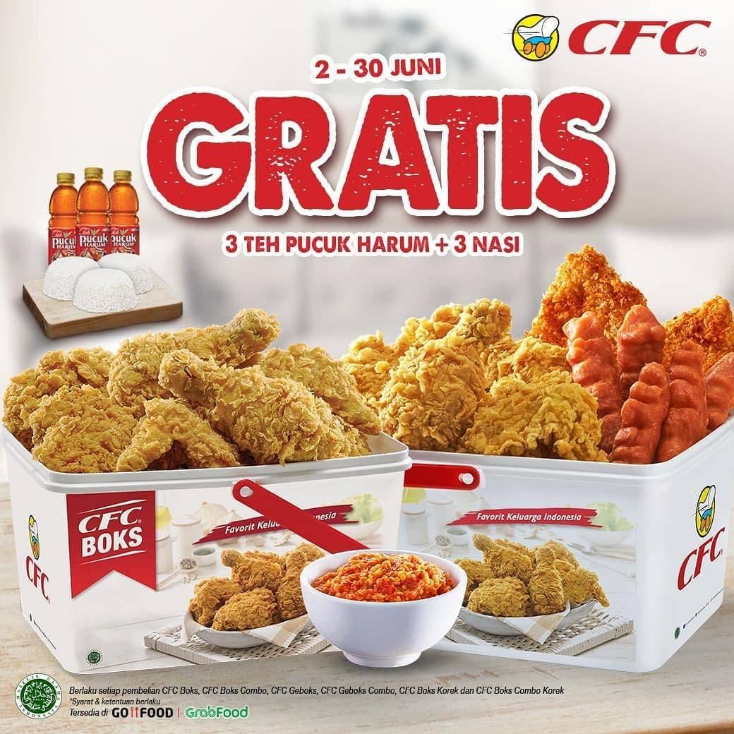 Diskon Promo CFC Gratis 3 Teh Pucuk Harum + 3 Nasi Setiap Pemnelian Paket CFC Boks
