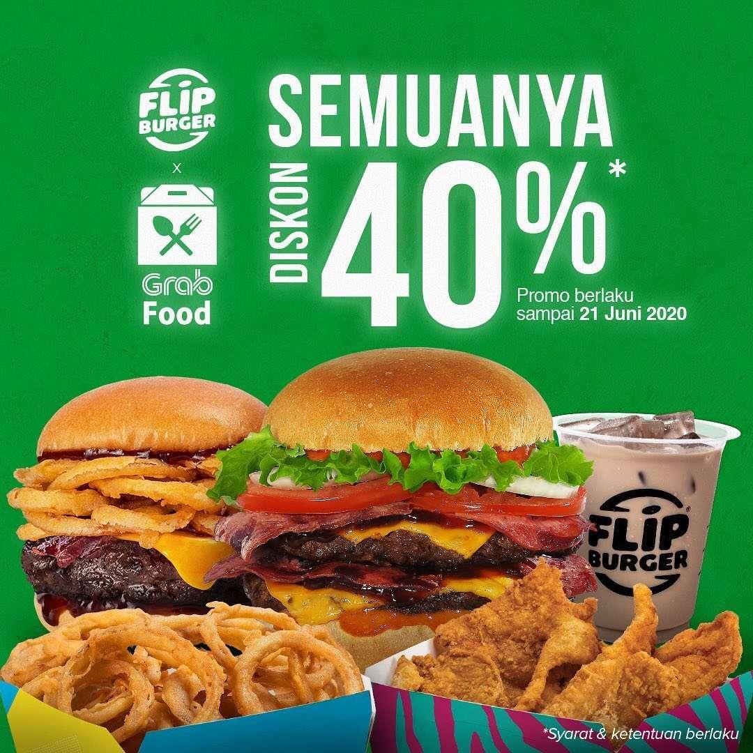 Diskon Promo Flip Burger Diskon 40% Untuk Pemesanan Menu Melalui GrabFood
