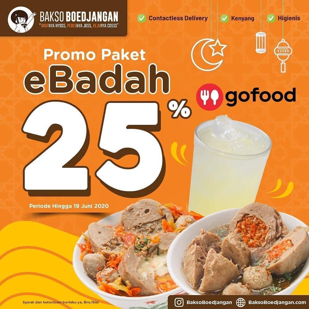 Diskon Promo Bakso Boedjangan Diskon 25% Untuk Pemesanan Paket eBadah Melalui GoFood