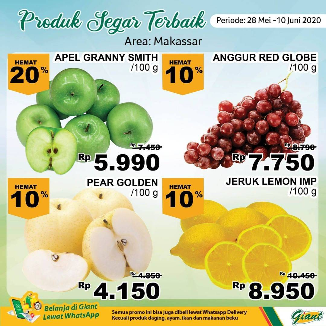 Diskon Katalog Promo Giant Produk Segar Terbaik (Area: Makassar) Periode 28 Mei - 10 Juni 2020