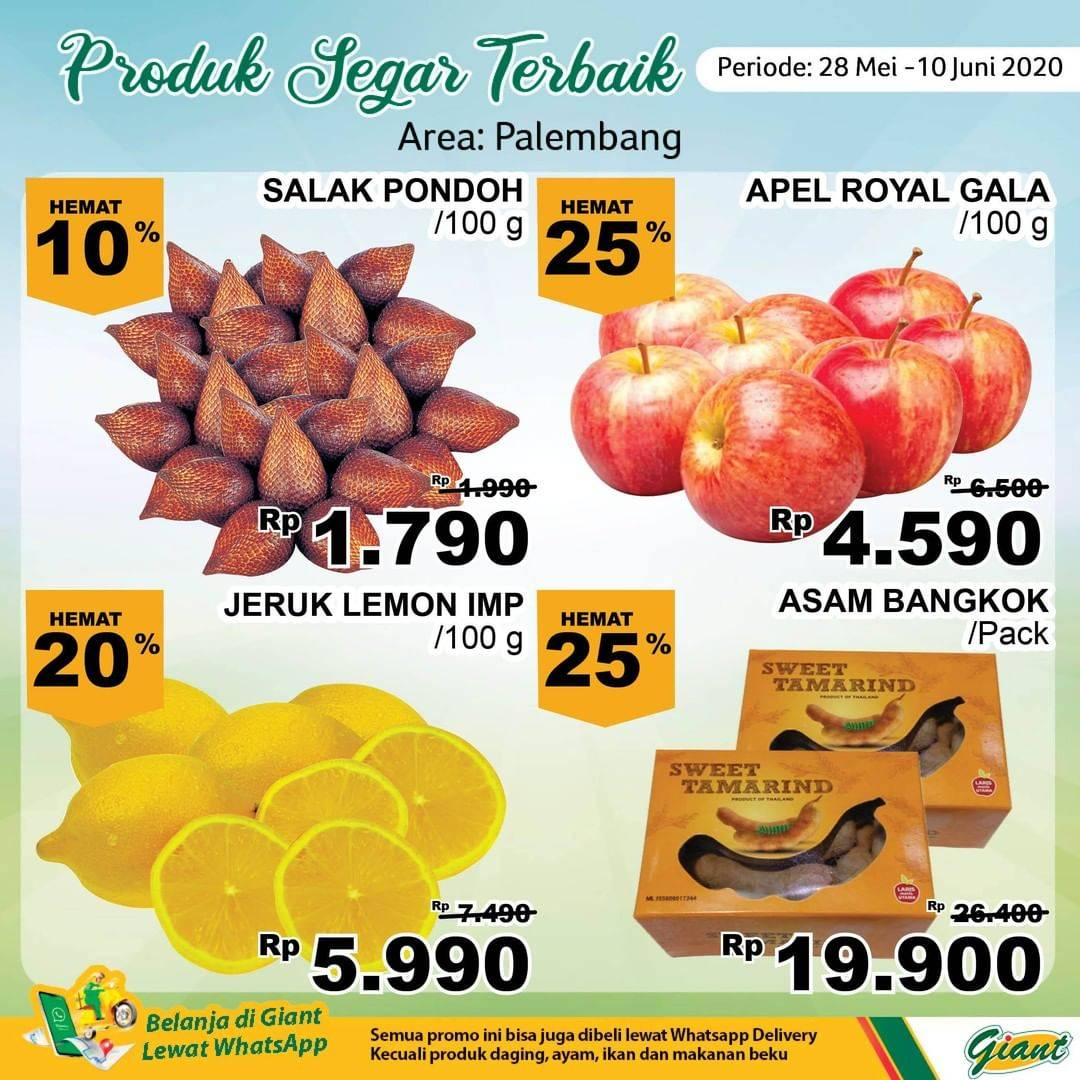 Diskon Katalog Promo Giant Produk Segar Terbaik (Area: Palembang) Periode 28 Mei - 10 Juni 2020