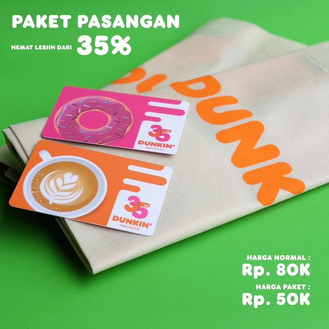 Diskon Promo Dunkin Donuts Diskon 35% Untuk Paket Pasangan 2 EcoBag + 2 DD Card