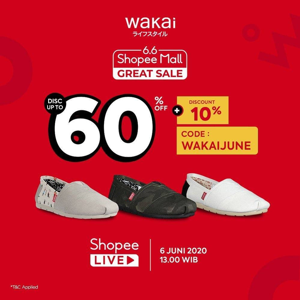Diskon Promo Wakai 6.6 Shopee Mall Great Sale Get Discount Up To 60% Off + 10% Off