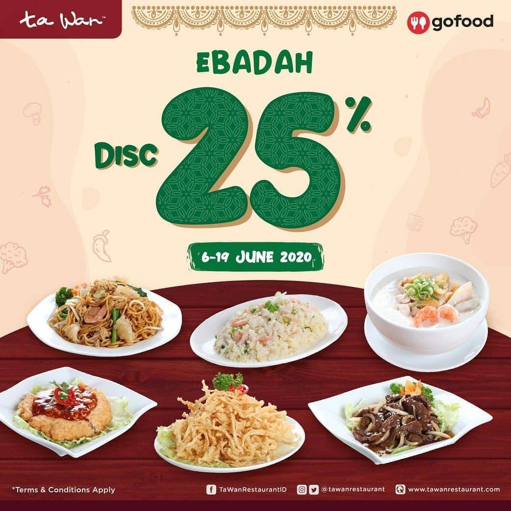 Diskon Promo Ta Wan Restaurant Diskon 25% Untuk Pemesanan Paket Ebadah Melalui GoFood