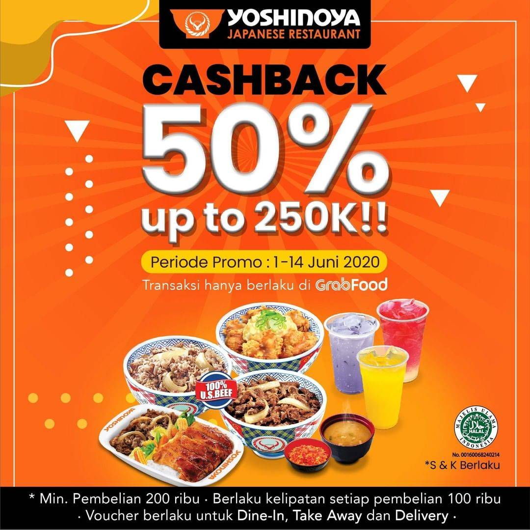 Diskon Promo Yoshinoya Cashback 50% Untuk Transaksi Melalui GrabFood