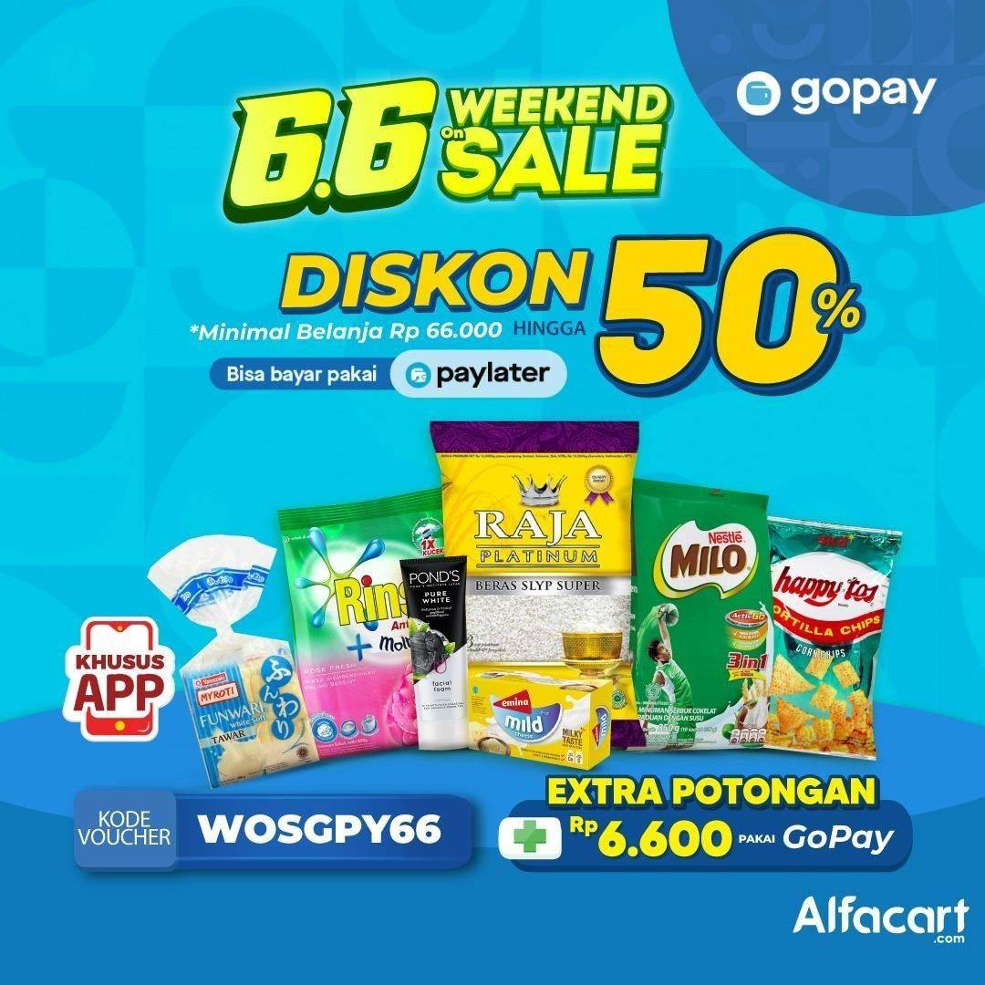 Diskon Promo Alfacart 6.6 Weekend On Sale Bersama Gopay