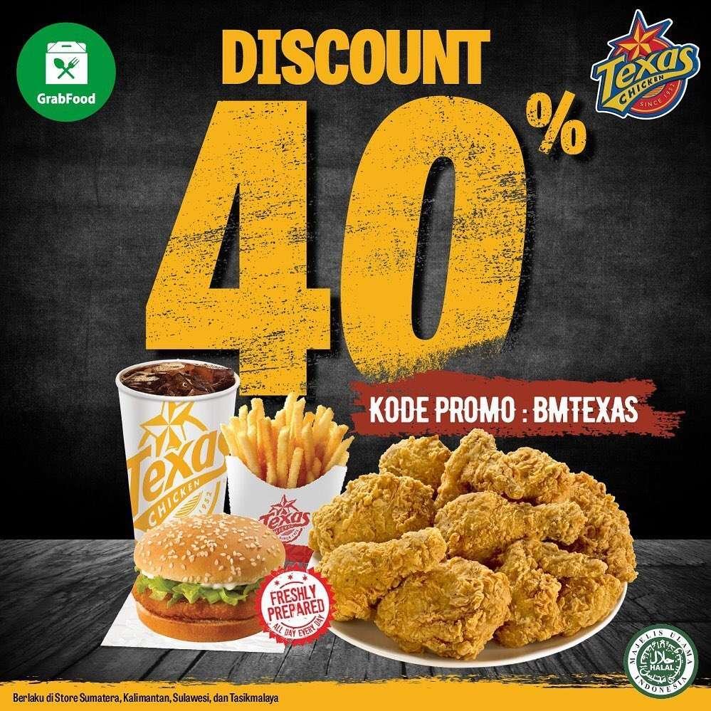 Diskon Promo Texas Chicken Diskon 40% Untuk Pemesanan Menu Melalui GrabFood