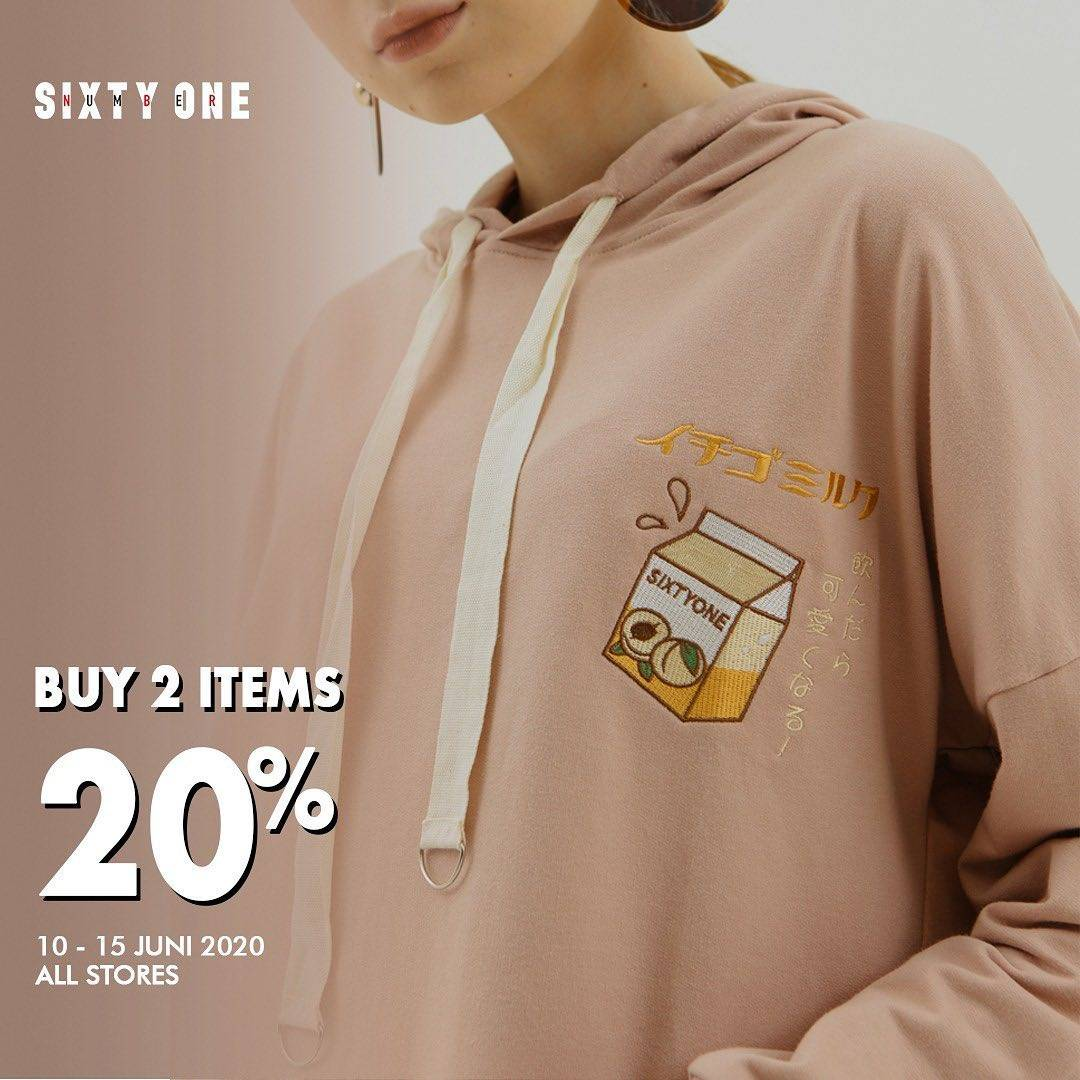 Diskon Promo Sixty One Buy 2 Items Get Discount 20% Off