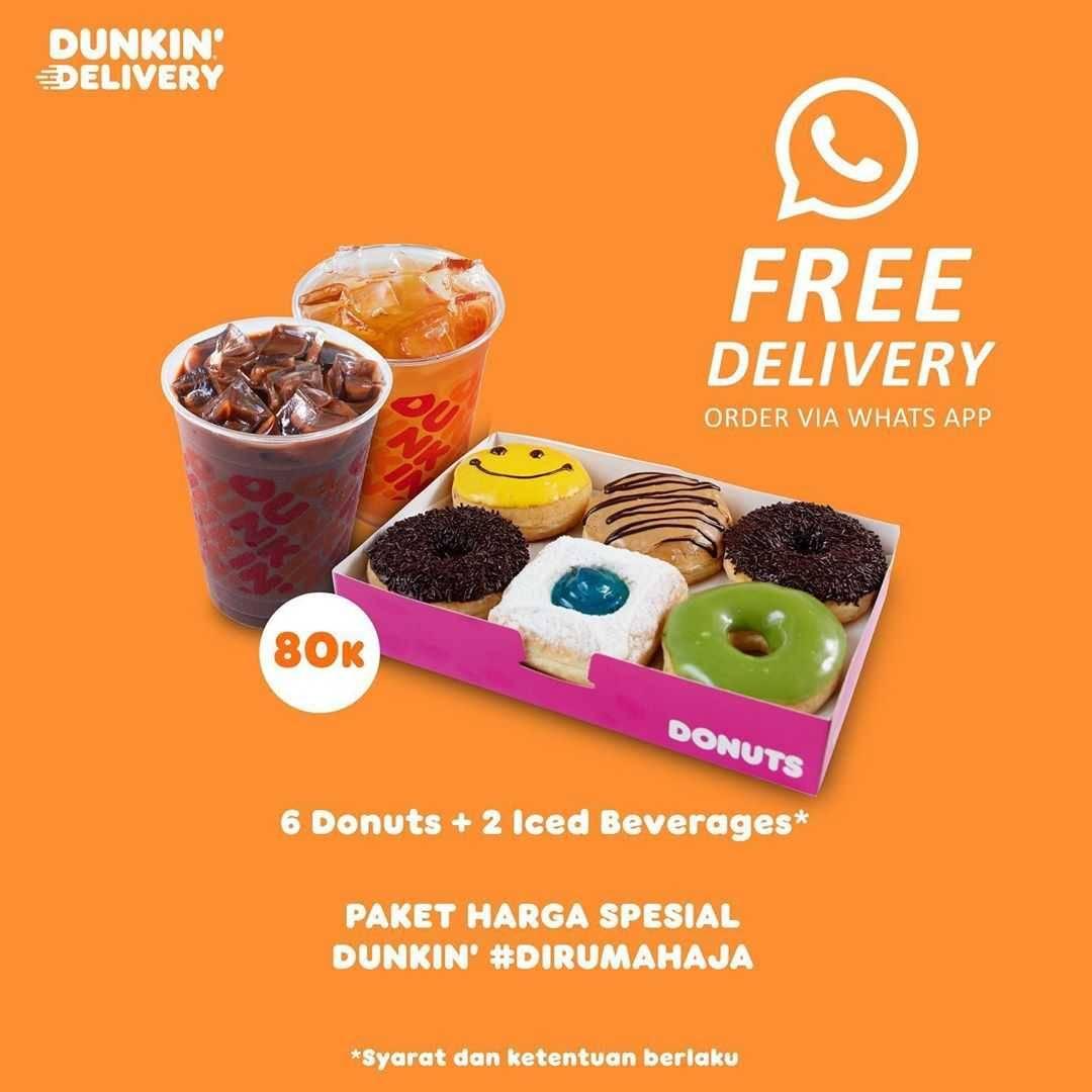 Promo diskon Promo Dunkin Donuts Harga Spesial Paket Di Rumah Aja Mulai Dari Rp.80.000