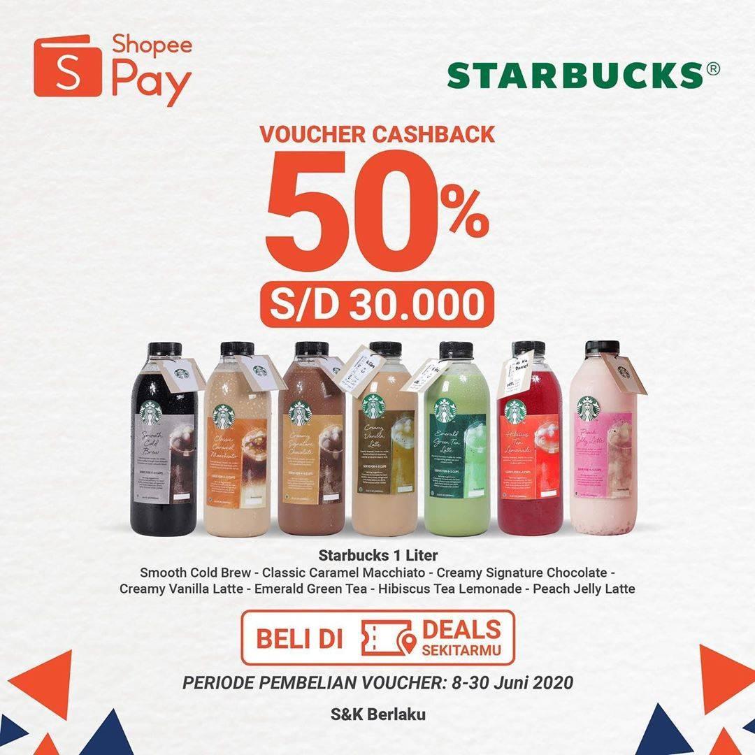 Diskon Promo Starbucks Cashback 50% Setiap Pembelian Kopi 1 L Menggunakan ShopeePay