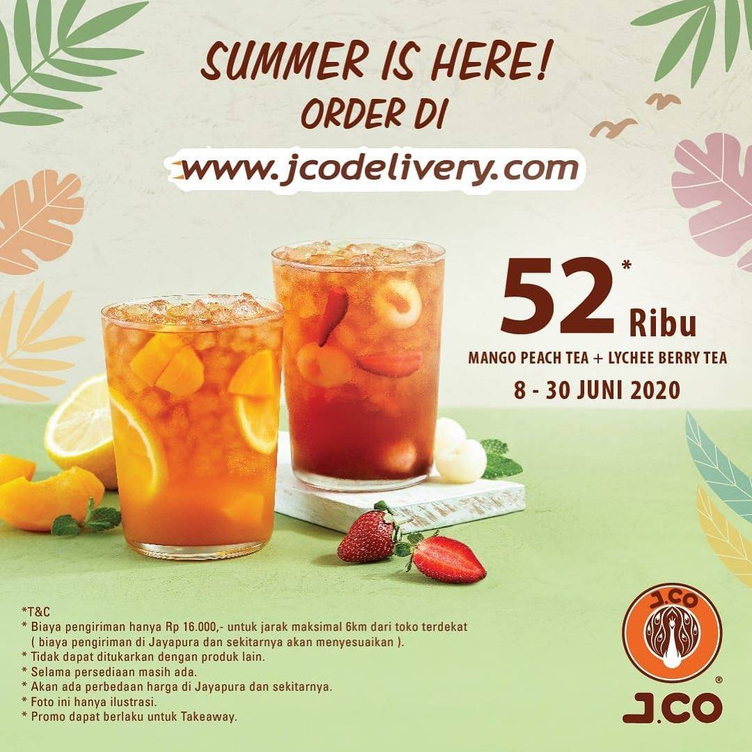 Diskon Promo J.CO Mango Peach Tea + Lychee Berry Tea Hanya Rp. 52.000