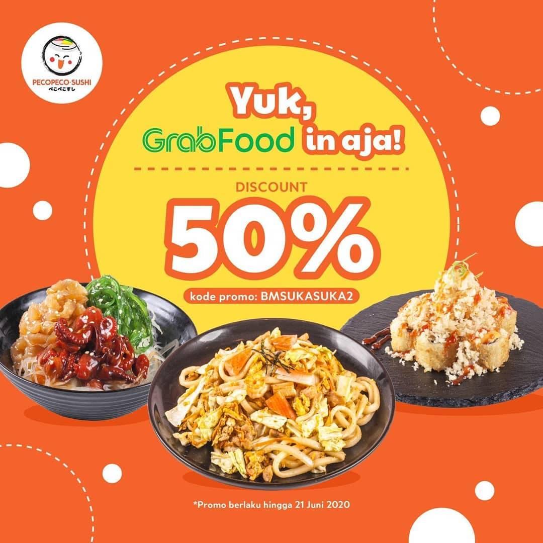 Diskon Promo Peco Peco Sushi Diskon 50% Untuk Pemesanan Menu Melalui GrabFood