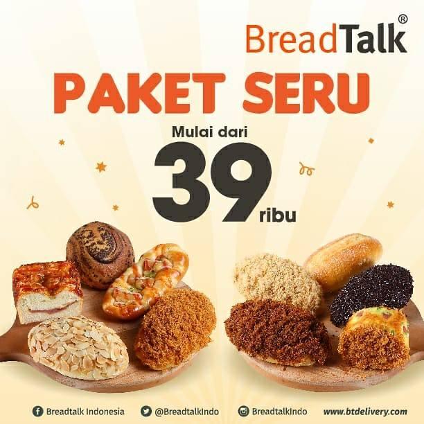 Diskon Promo Breadtalk Paket Seru Dengan Harga Mulai Dari Rp. 39.000 Untuk Roti Best Seller