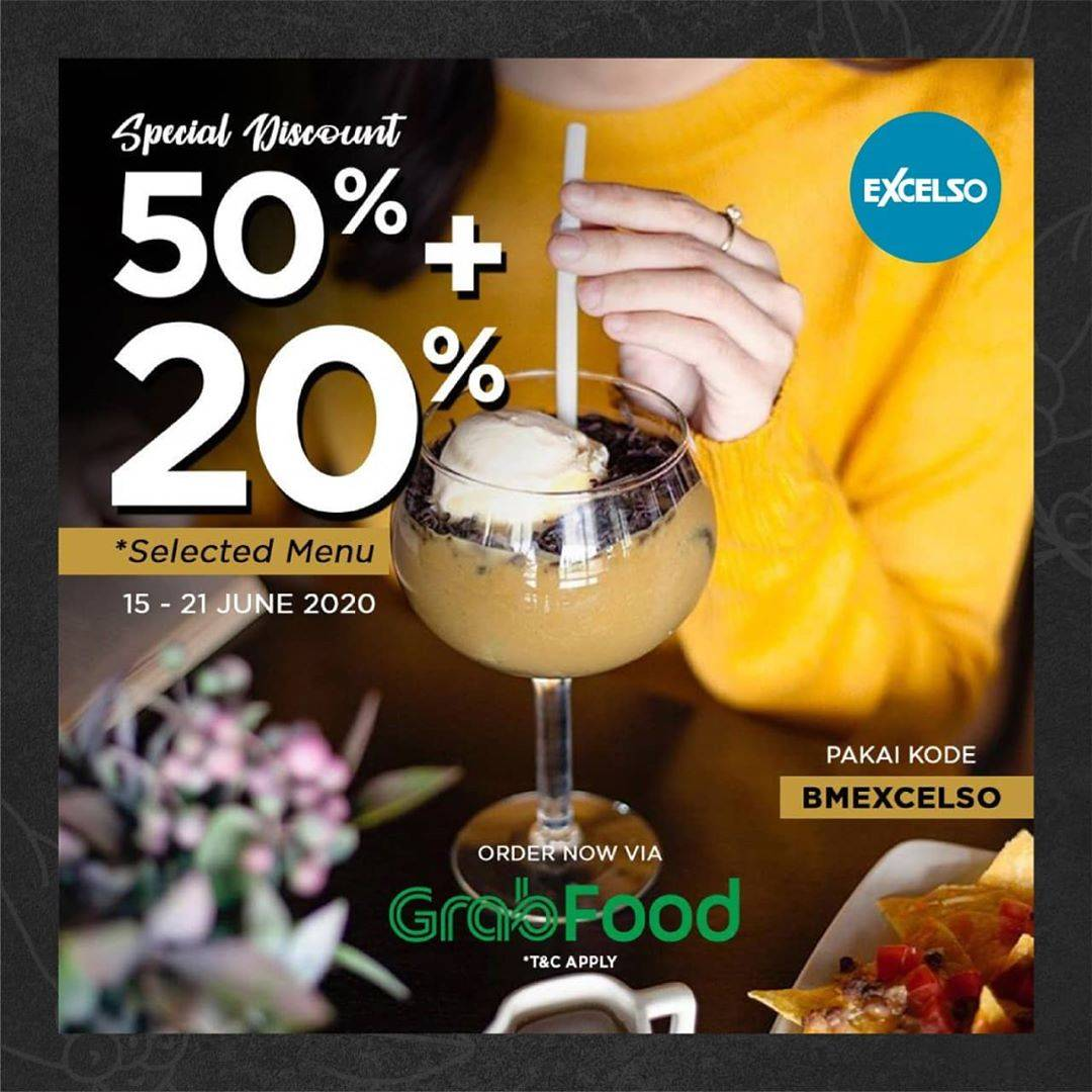 Diskon Promo Excelso Diskon 50% + 20% Untuk Pemesanan Menu Melalui GrabFood