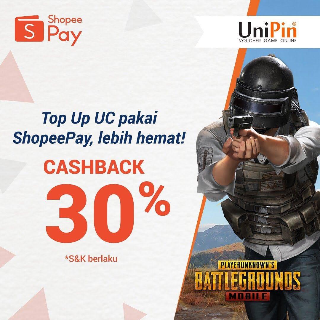 Promo ShopeePay Cashback 30% Setiap Top Up UC PUBG Mobile