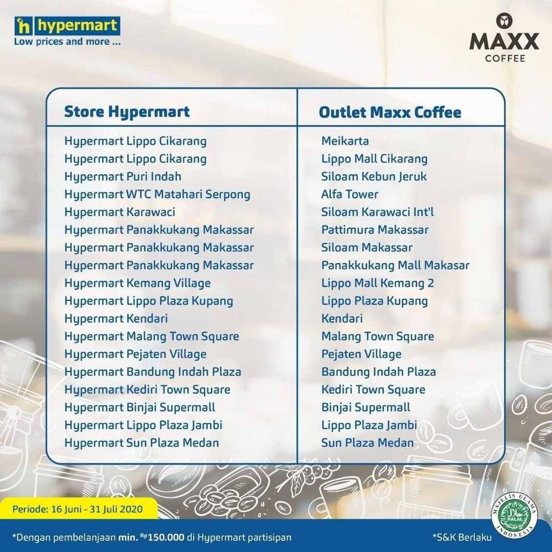 Promo diskon Promo Hypermart Bonus Voucher Beli 1 Gratis 1 Maxx Coffee
