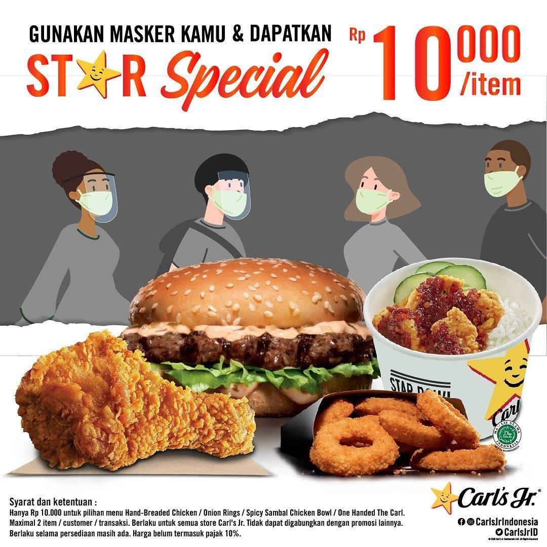 Diskon Promo Carls Jr Gunakan Masker & Dapatkan Star Special Item Hanya Rp. 10.000
