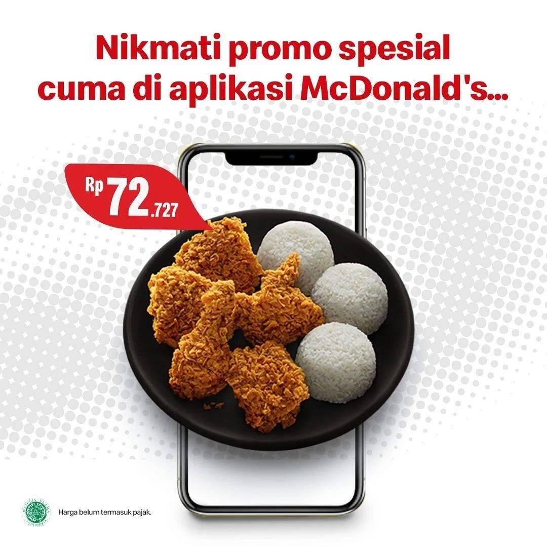 Diskon Promo McD Harga Spesial Pemesanan Menu 5 Ayam + 3 Nasi Hanya Rp. 72.727 Melalui Aplikasi