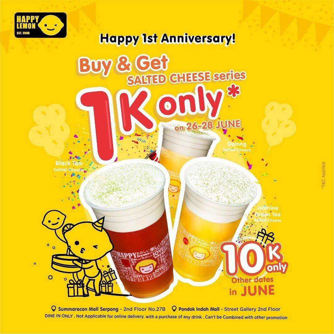 Diskon Promo Happy Lemon Buy 1 Get 1 Salted Cheese Series Only For Rp. 1.000