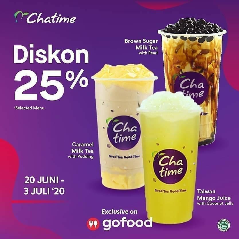 Diskon Promo Chatime Diskon 25% Untuk Pemesanan 3 Varian Favorit Melalui GoFood