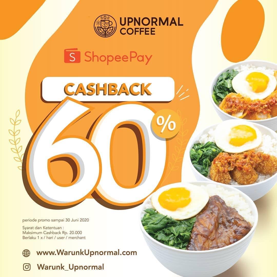 Diskon Promo Warunk Upnormal Cashback 60% Setiap Transaksi Menggunakan ShopeePay